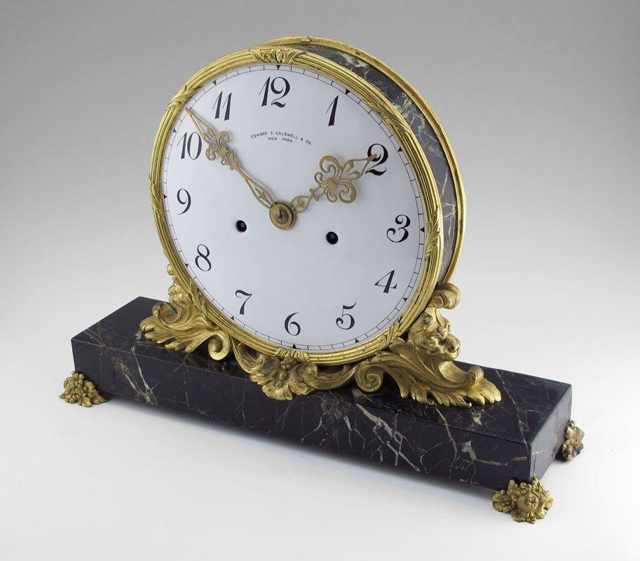 10: EDWARD F CALDWELL ORMOLU & MARBLE MANTLE CLOCK
