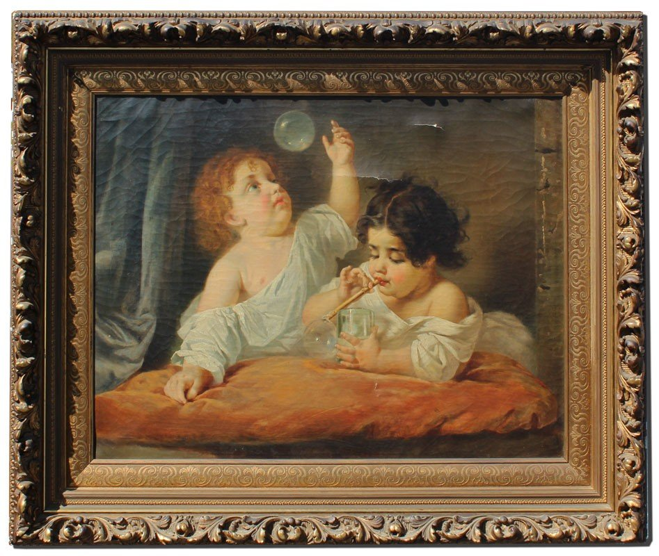 20: EXCEPTIONAL 19TH CENTURY PAINTING BUBBLE BLOWERS