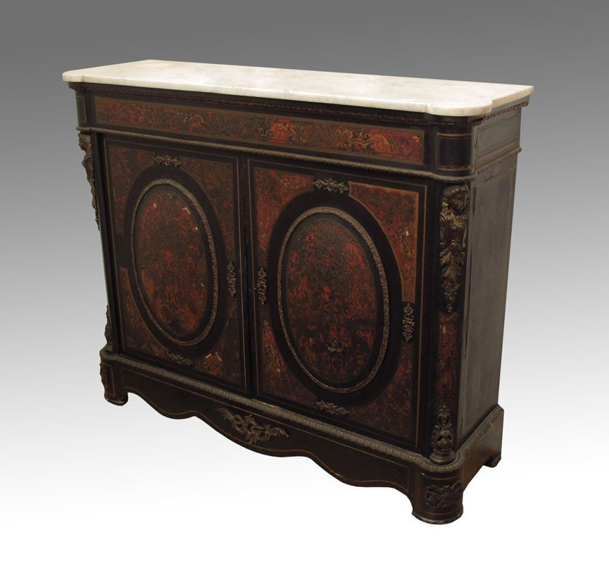 51: BOULLE INLAY MARBLE TOP CREDENZA