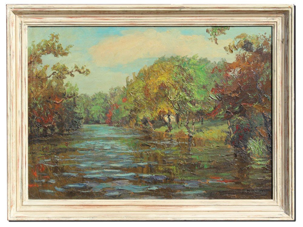 192: HUGH CAMPBELL RIVER LANDSCAPE PAINTING - 2