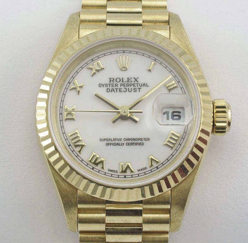 62: ROLEX 18K GOLD  LADIES WATCH ORIG BOX w/ PAPERS