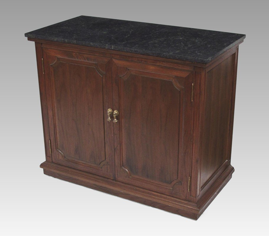 71: MAHOGANY MARBLE TOP SILVER CHEST