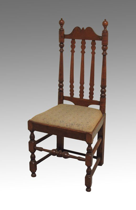 17: EARLY BANNISTER BACK SIDE CHAIR: