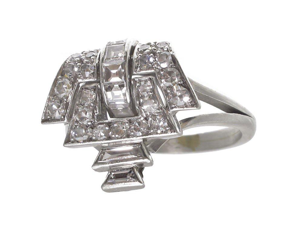 3: PERIOD DECO PLATINUM DIAMOND RING SZ 6.5