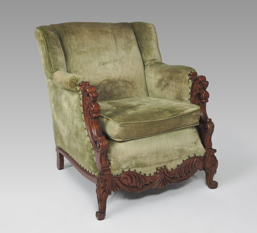 23: FIGURAL CARVED LION ARM CHAIR