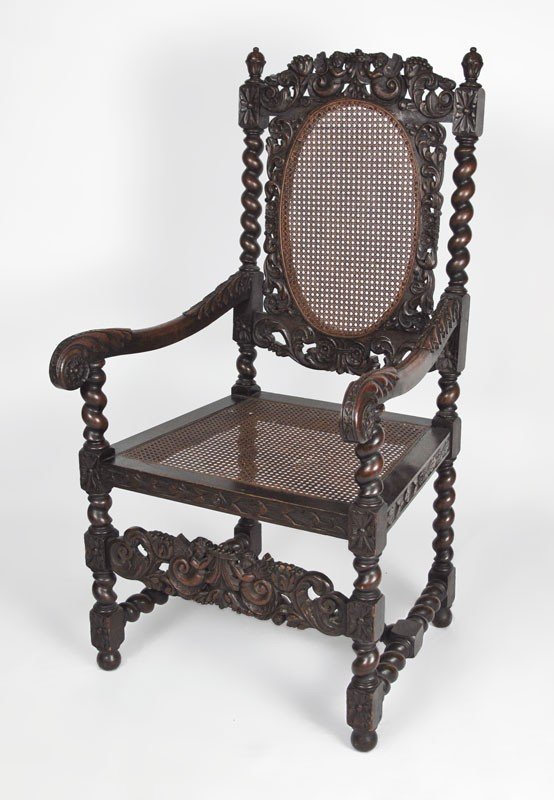 9: CHARLES II CARVED ARM CHAIR