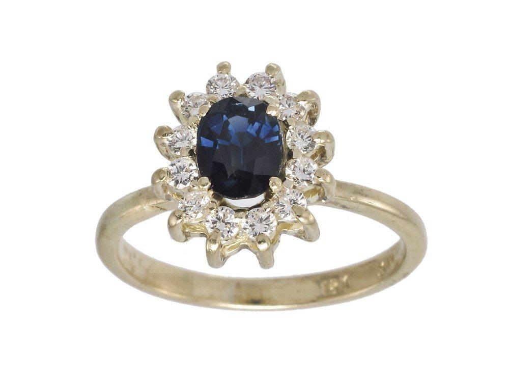 18K GOLD 1.15 CT SAPPHIRE & .36 CTW DIAMOND RING