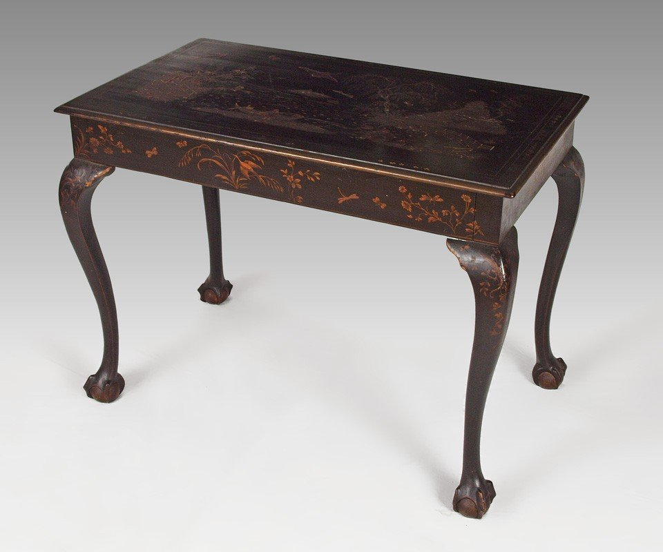8: LATE 19TH C JAPANNED BALL AND CLAW FOOT TABLE