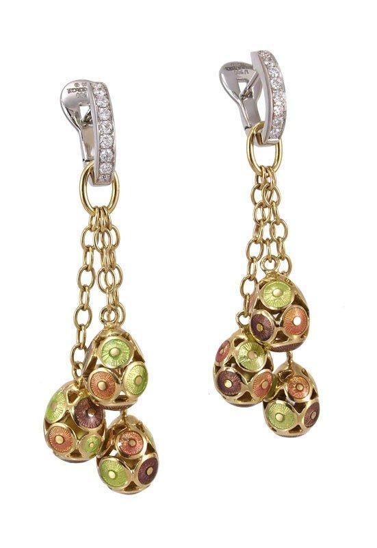 6: FABERGE DIAMOND 18K GOLD ENAMEL EGG EARRINGS