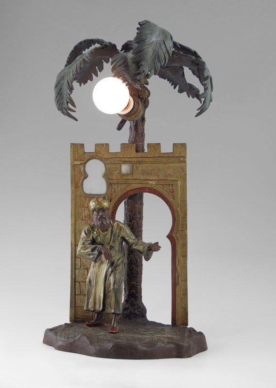 9: ANTON CHOTKA ORIENTALIST LAMP 16'' TALL SIGNED