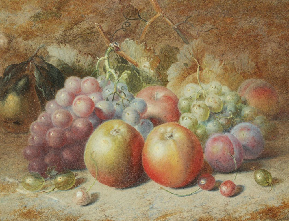 22: CHARLES ARCHER STILL LIFE PAINTING OF FRUIT