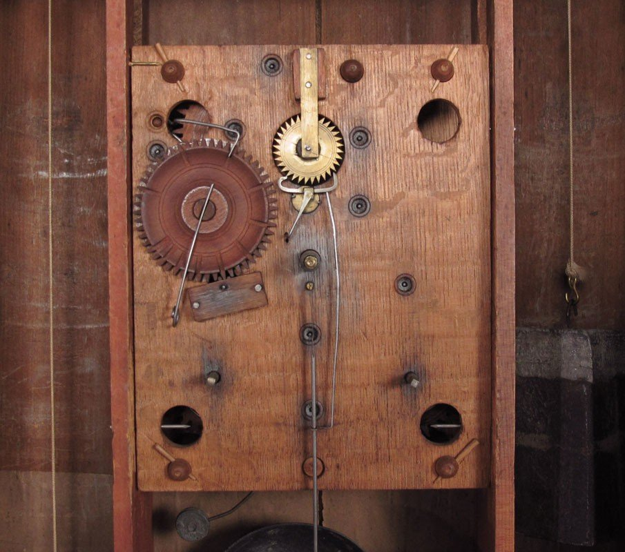 324: BOARDMAN & WELLS REVERSE PAINTED MANTLE CLOCK - 4