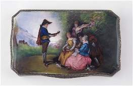 444: FRENCH SILVER ENAMEL COVERED BOX