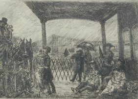 JOHN SLOAN ETCHING WAKE ON THE FERRY