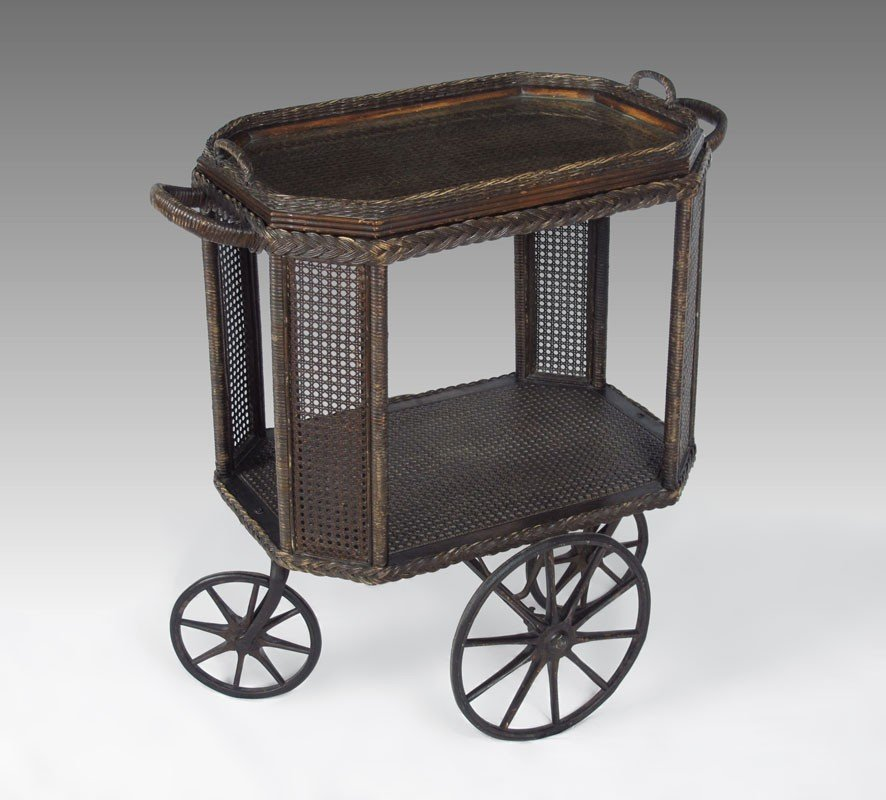 257: WICKER TEA CART