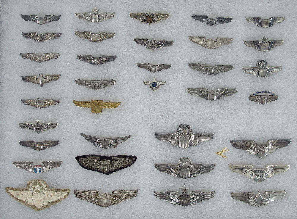 264: COLLECTION OF STERLING & OTHER AVIATOR WINGS