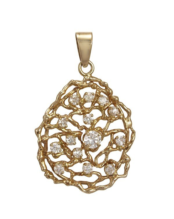 247: 14k GOLD 1. CTW OLD EURO DIAMOND PENDANT