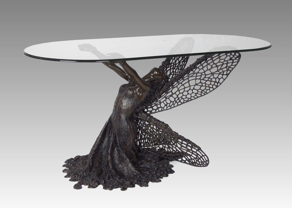 258: BRONZE ANGEL FIGURAL GARDEN TABLE