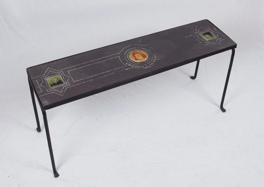 254: CA. 1920'S WROUGHT IRON TABLE WITH TILE INSETS