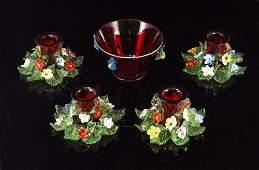 179A 5 PIECE VENETIAN ART GLASS APPLIED DECOR