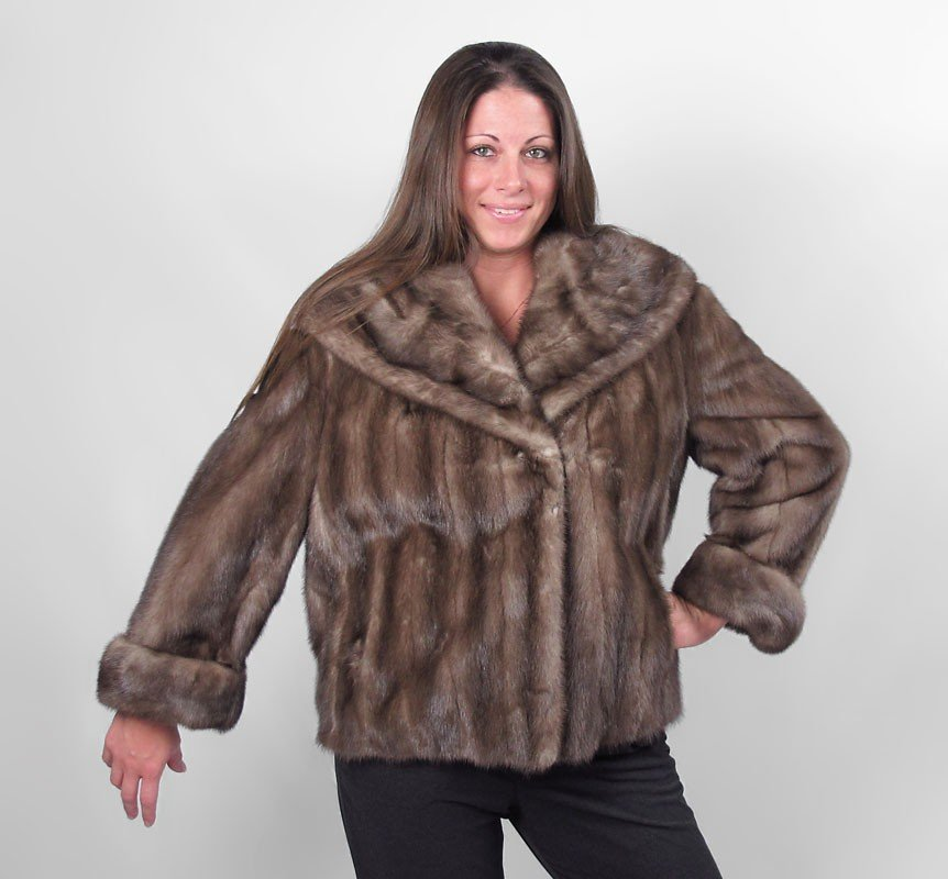 251: SCHROEDERS & TAYLOR BROWN PLUSH FUR JACKET