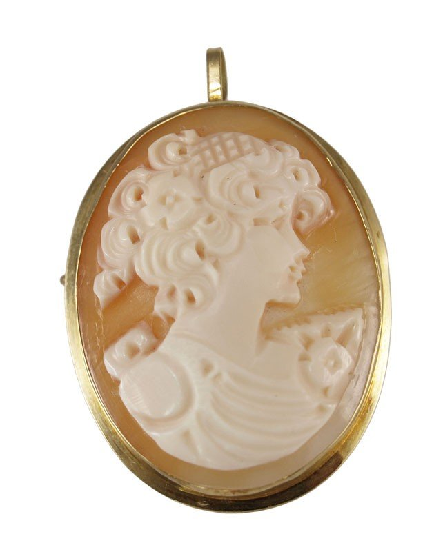 254A: 18K CARVED SHELL CAMEO PIN PENDANT