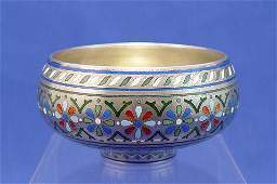 12 RUSSIAN CHAMPLEVE ENAMEL BOWL CA 1881 MOSCOW