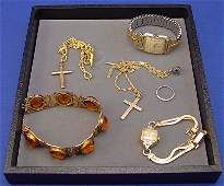 358 ESTATE LOT GOLD COSTUME JEWELRY BULOVA WATCH