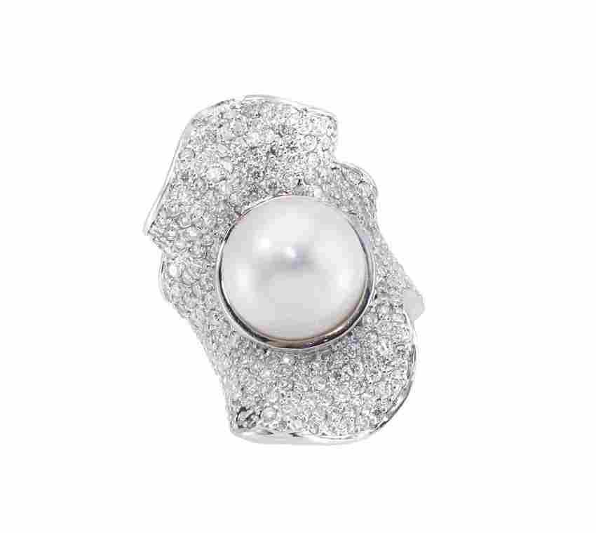 100: 18K 13 mm SOUTH SEA PEARL RING 7.5 CTW DIAMONDS