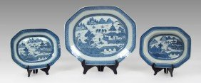 3 CANTON BLUE AND WHITE PLATTERS