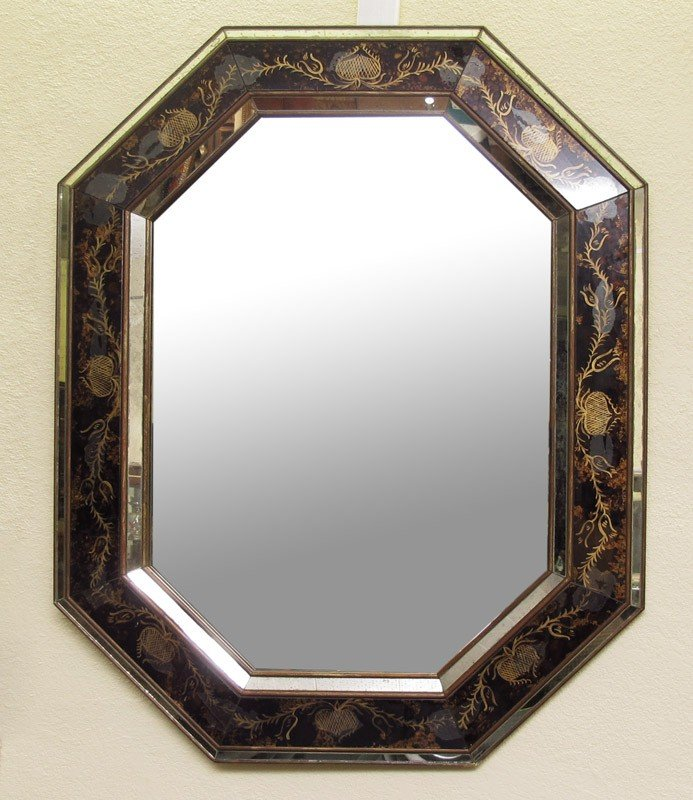161: BLACK REVERSE PAINTED DECORATED MIRROR