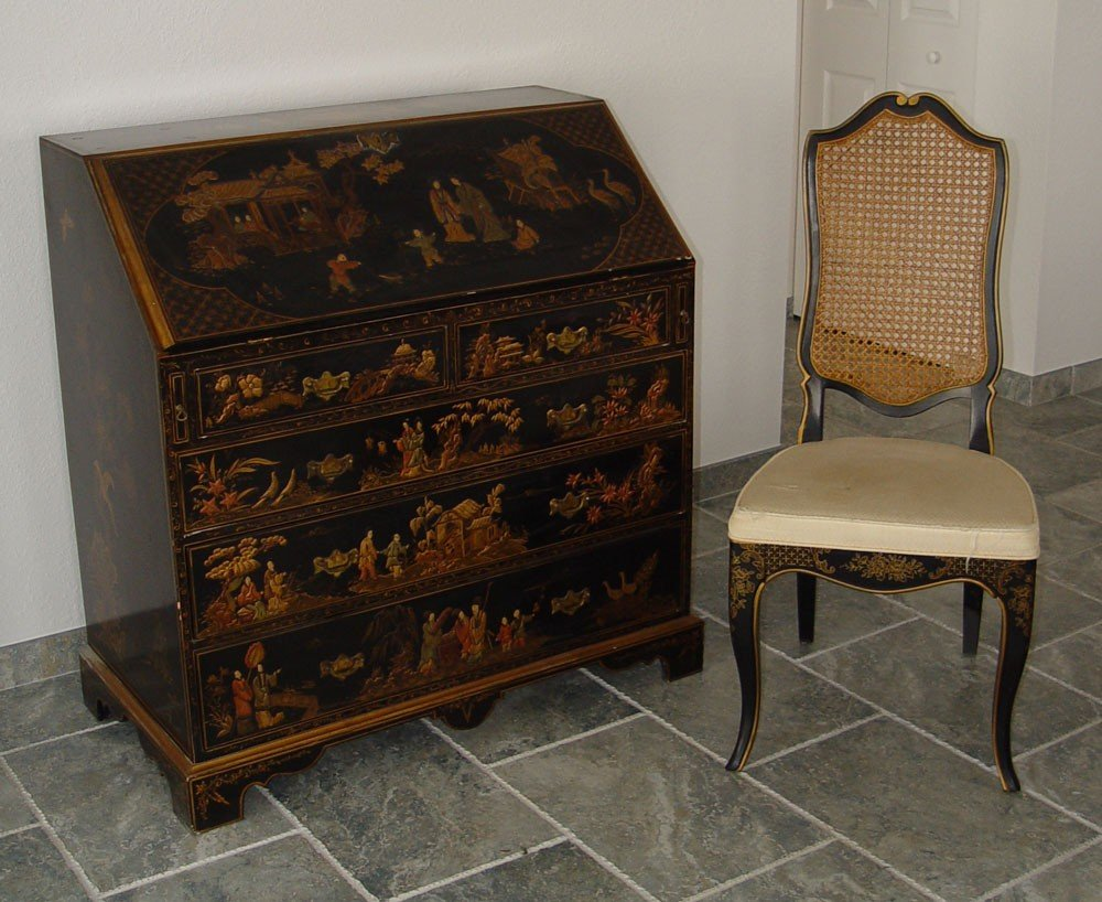 162: CHINOISERIE SLANT FRONT DESK AND CHAIR