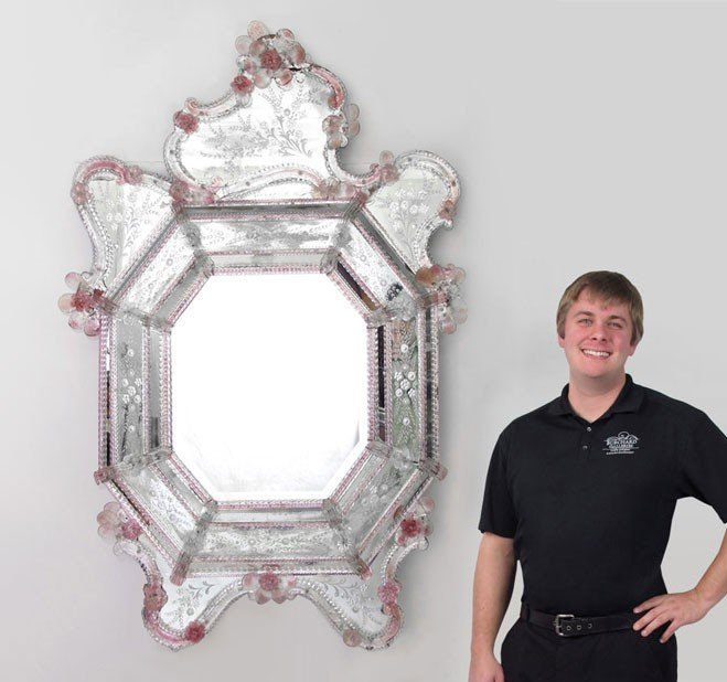 180: LARGE VENETIAN ETCHED GLASS MIRROR
