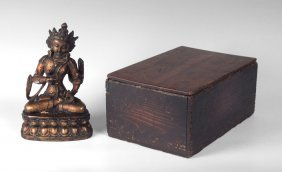 TIBETAN BRONZE BUDDHA IN WOODEN BOX