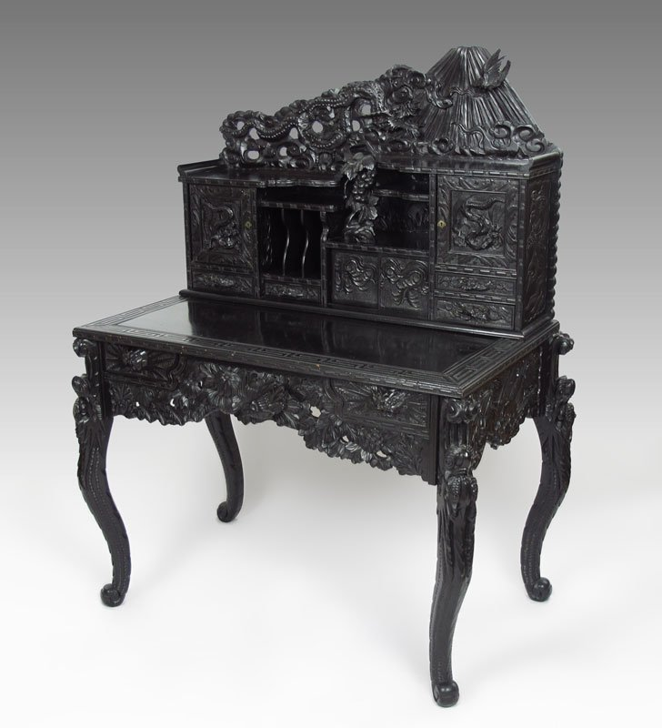 11: PROFUSELY CARVED CHINESE CARVED DESK