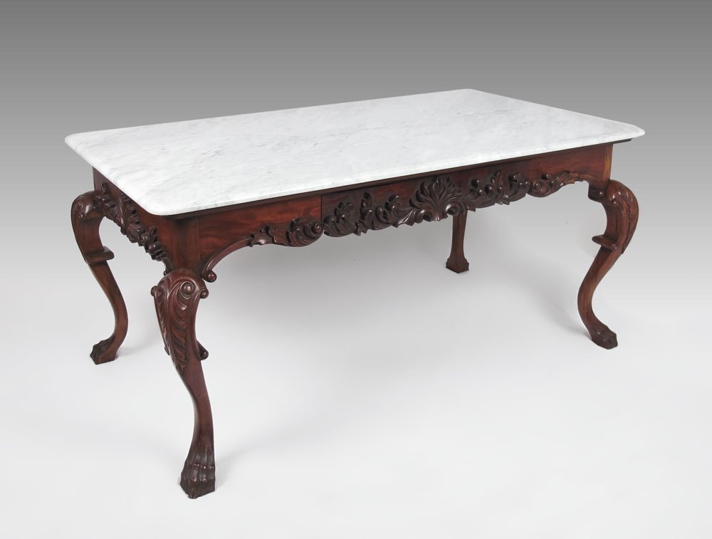 21: LARGE CARVED MARBLE TOP LIBRARY TABLE / DESK