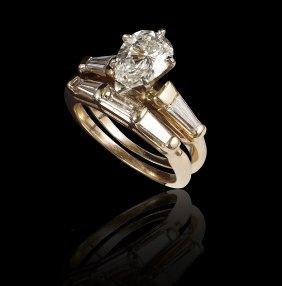 1.44 PEAR DIAMOND BRIDAL ENGAGEMENT RING & BAND