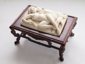 JAPANESE CARVED IVORY EROTICA LOVERS