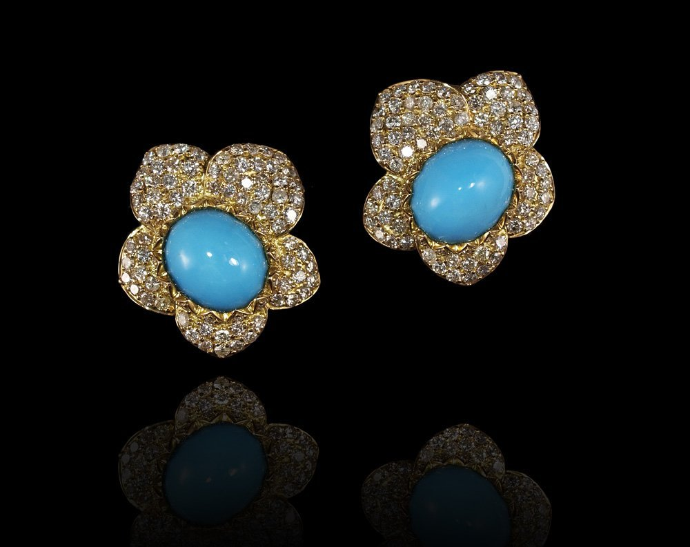 141: 18K GOLD DIAMOND AND TURQUOISE EARRINGS 19.2 GR