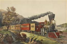 273 CURRIER  IVES AMERICAN EXPRESS TRAIN LITHOGRAPH