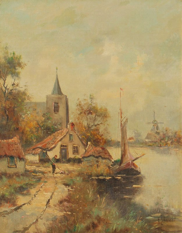 135: LA FORET CANAL SCENE PAINTING