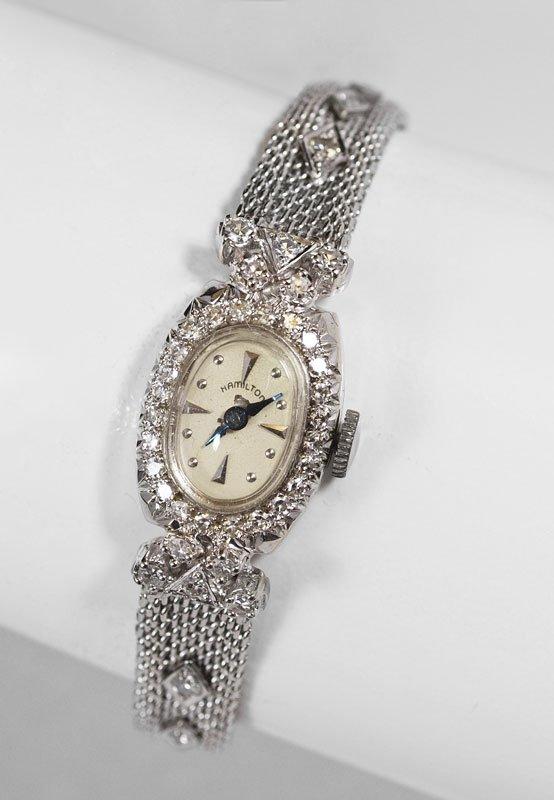 13: 1950's 14K GOLD & DIAMOND HAMILTON LADIES WATCH
