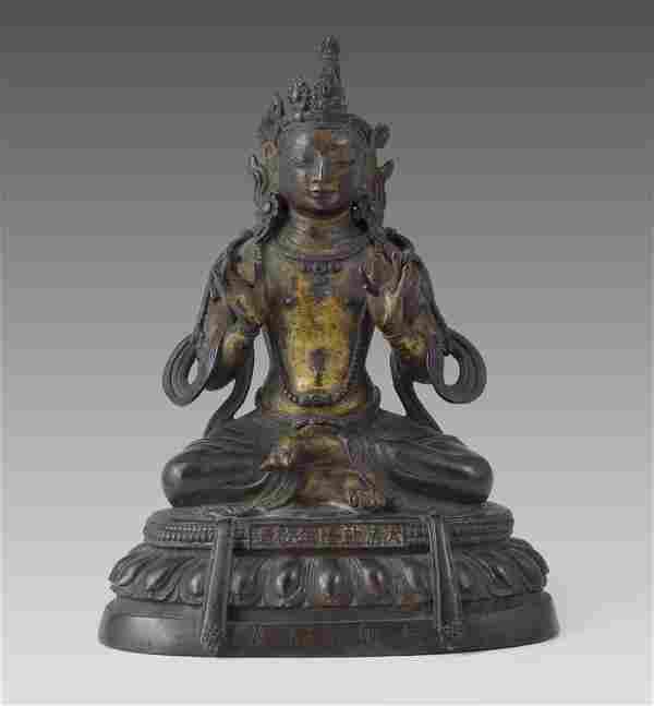 BRONZE TIBETAN SEATED BUDDHA