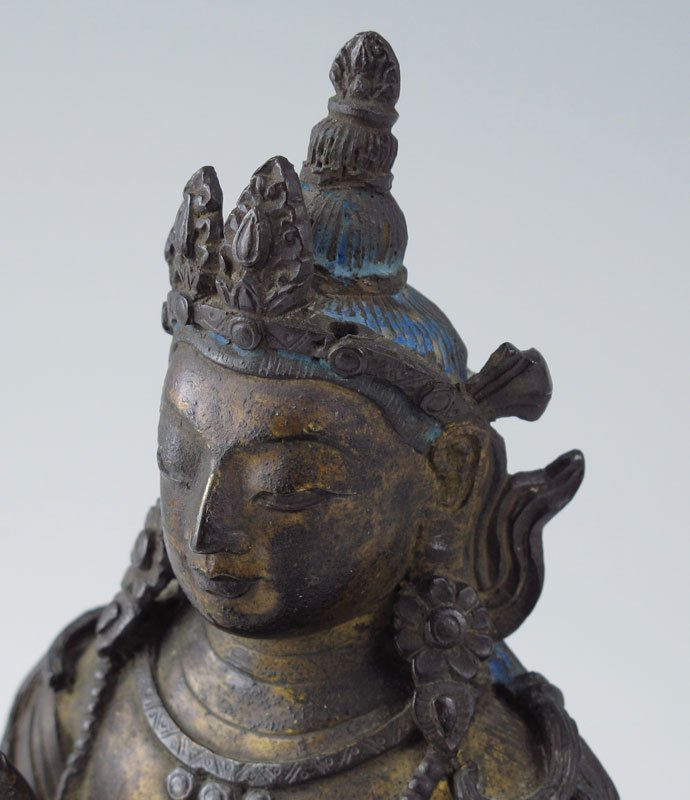 446: BRONZE TIBETAN SEATED BUDDHA - 3