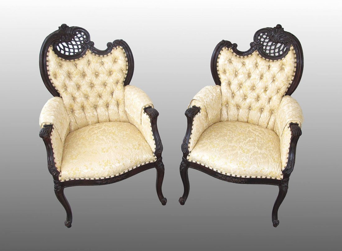 146: PAIR OF VICTORIAN BUTTON AND TUFTED PARLOR CHAIRS