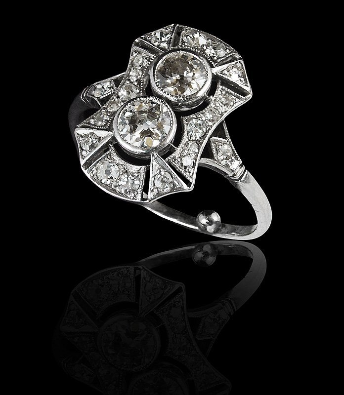 90: 1920's PLATINUM 1 CT DIAMOND FILIGREE RING  SZ 6