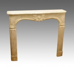 CARVED MARBLE FIREPLACE MANTLE SURROUND