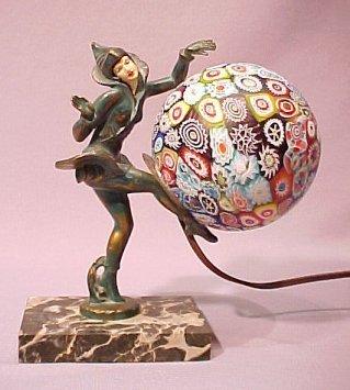 1002: DECO FIGURAL LAMP W/ MILLEFIORI SHADE