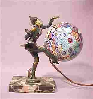 ART DECO FIGURAL LAMP MILLEFIORI SHADE