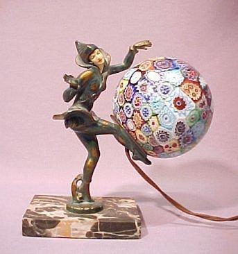 1002A: ART DECO FIGURAL LAMP MILLEFIORI SHADE